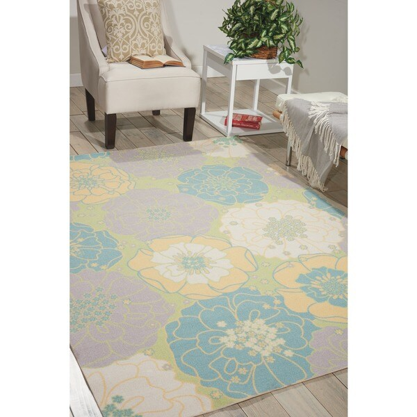 Nourison Home and Garden Green Floral Indoor/Outdoor Rug - 10' x 13'
