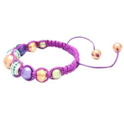 Karma Collection Purple Mardi Gras Crystal Edition Macrame Bracelet