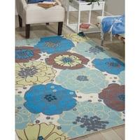 Nourison Home and Garden Blue Floral Indoor/Outdoor Rug (5'3 x 7'5) - 5'3 x 7'5