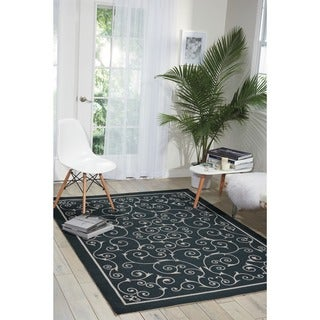 Nourison Home and Garden Black Floral Indoor/Outdoor Rug (5'3 x 7'5)