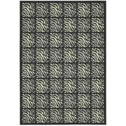 Nourison Home and Garden Black Indoor/Outdoor Rug (5'3 x 7'5)