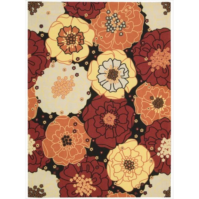 Nourison Home and Garden Black Floral Indoor/Outdoor Rug (7'9 x 10'10)