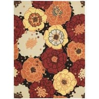 Nourison Home and Garden Black Floral Indoor/Outdoor Rug - 7'9 x 10'10