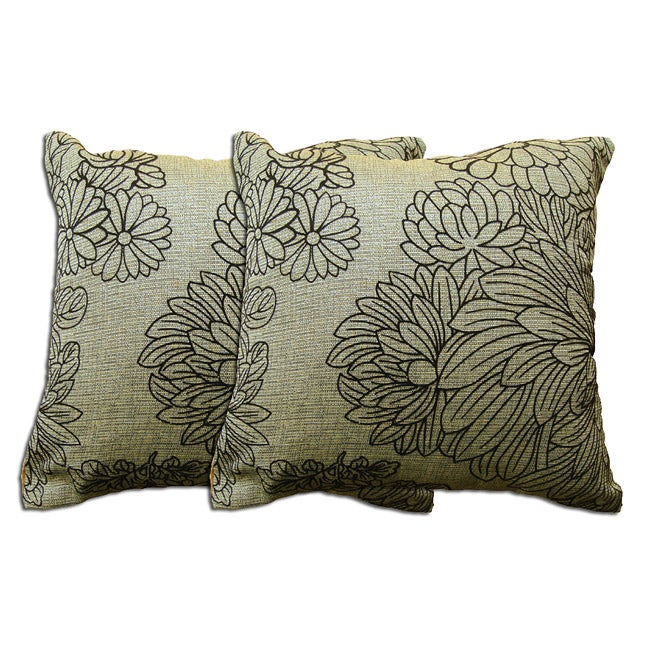 Tan Floral Polyester Decorative Pillow (Set of 2)