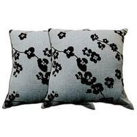 Blue-Grey Floral Decorative Pillow (Set of 2)