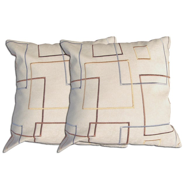 Decorative Ivory/Gold Polyester Pillow (Set of 2)