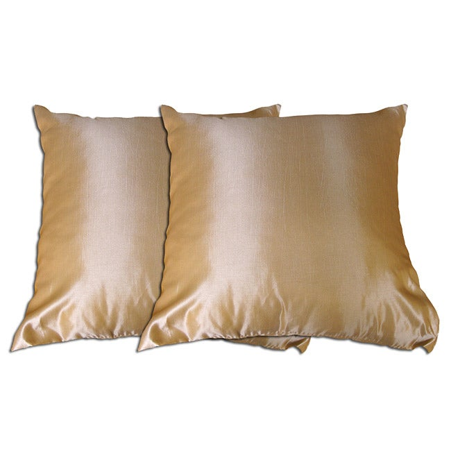 Decorative Beige Polyester Pillow (Set of 2)