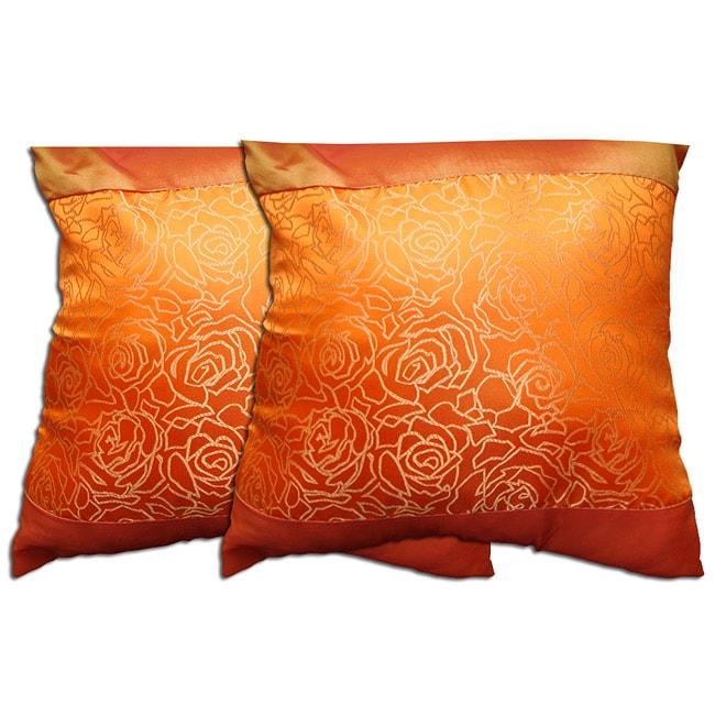 Decorative Dark Orange Polyester Pillow (Set of 2)