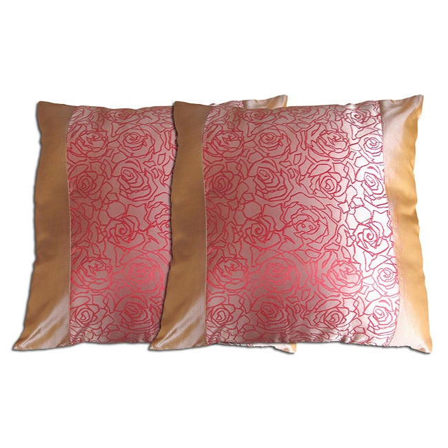 Decorative Beige/Red Polyester Pillow (Set of 2)