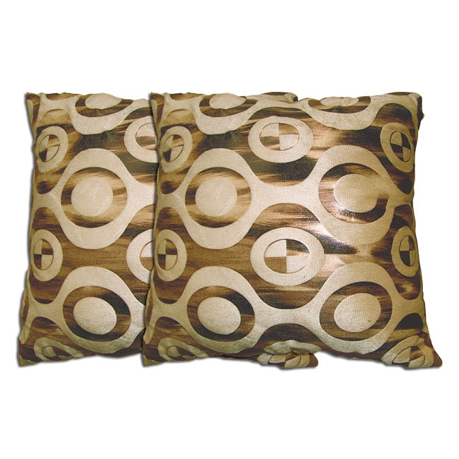 Decorative Beige/Light Brown Polyester Pillow (Set of Two)