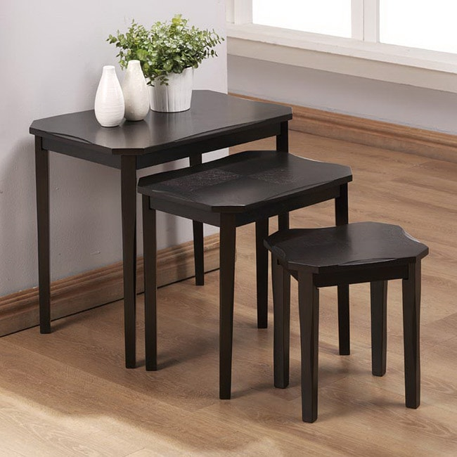 Cappuccino Cherry Veneer 3-piece Nesting Table Set