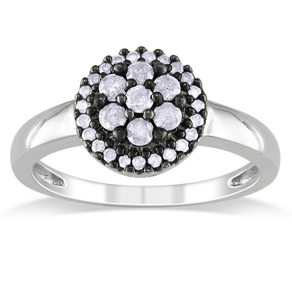 Miadora Sterling Silver 3/8ct TDW Diamond Flower Ring