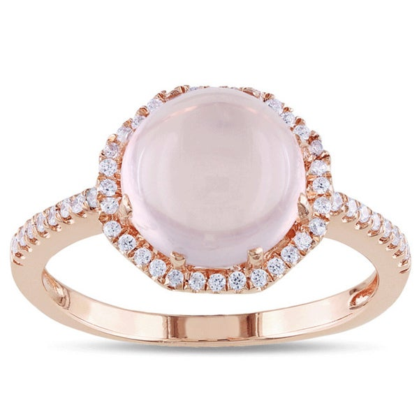 Miadora Pink Plated Silver 2 1/2ct TGW Rose Quartz and Cubic Zirconia Ring