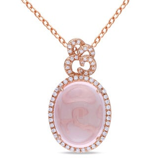 Miadora Pink-plated Silver 5ct TGW Rose Quartz and Cubic Zirconia Necklace