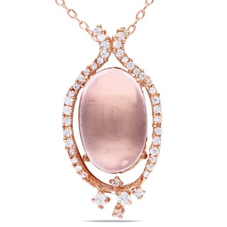 Miadora Pink-plated Silver 4 1/4ct TGW Rose Quartz and Cubic Zirconia Necklace