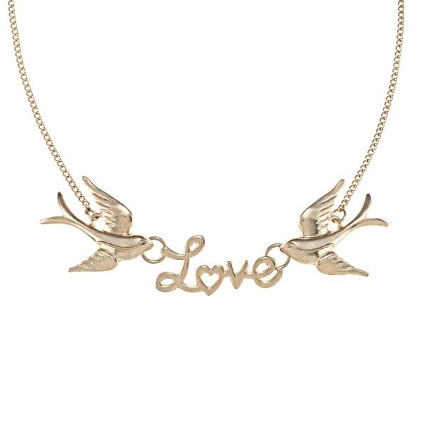 LinaJoy Goldtone 'Love' Birds Fashion Necklace