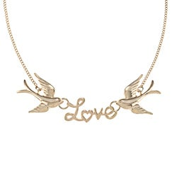 LinaJoy Goldtone 'Love' Birds Fashion Necklace