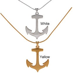 White Trash Charms Plated Sterling Silver Anchor Necklace