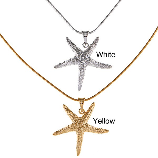 White Trash Charms Sterling Silver Medium Starfish Necklace