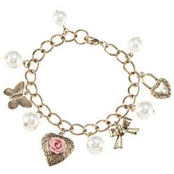 LinaJoy Goldtone Faux Pearl Charm Bracelet