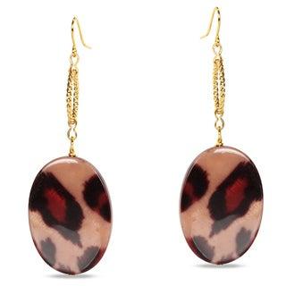 Miadora Goldtone Leopard Print Charm Earrings