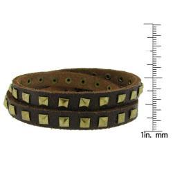 Leather and Goldtone Square Stud Bracelet
