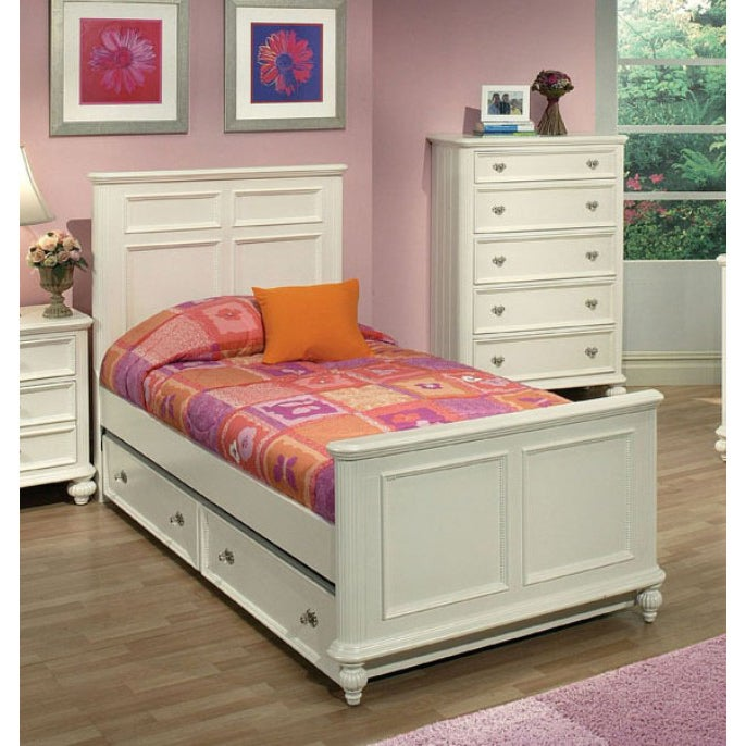 Athena White Twin Bed Headboard, Footboard and Rails