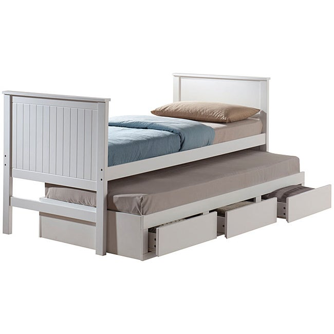 Bungalow White Finish Twin-size Captain Bed with Trundle