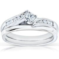 Annello by Kobelli 14k White Gold 1/4ct TDW Diamond Bridal Ring Set