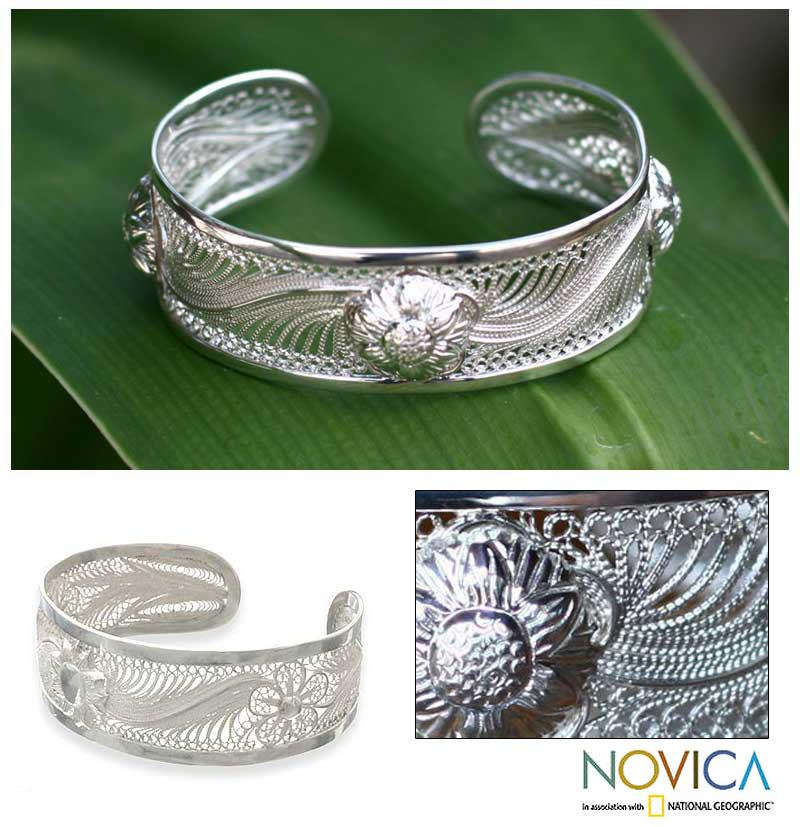 Handmade Sterling Silver 'Empire of the Sun' Bracelet (Indonesia)