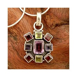 Sterling Silver 'Color Wheel' Multi-gemstone Necklace (India)