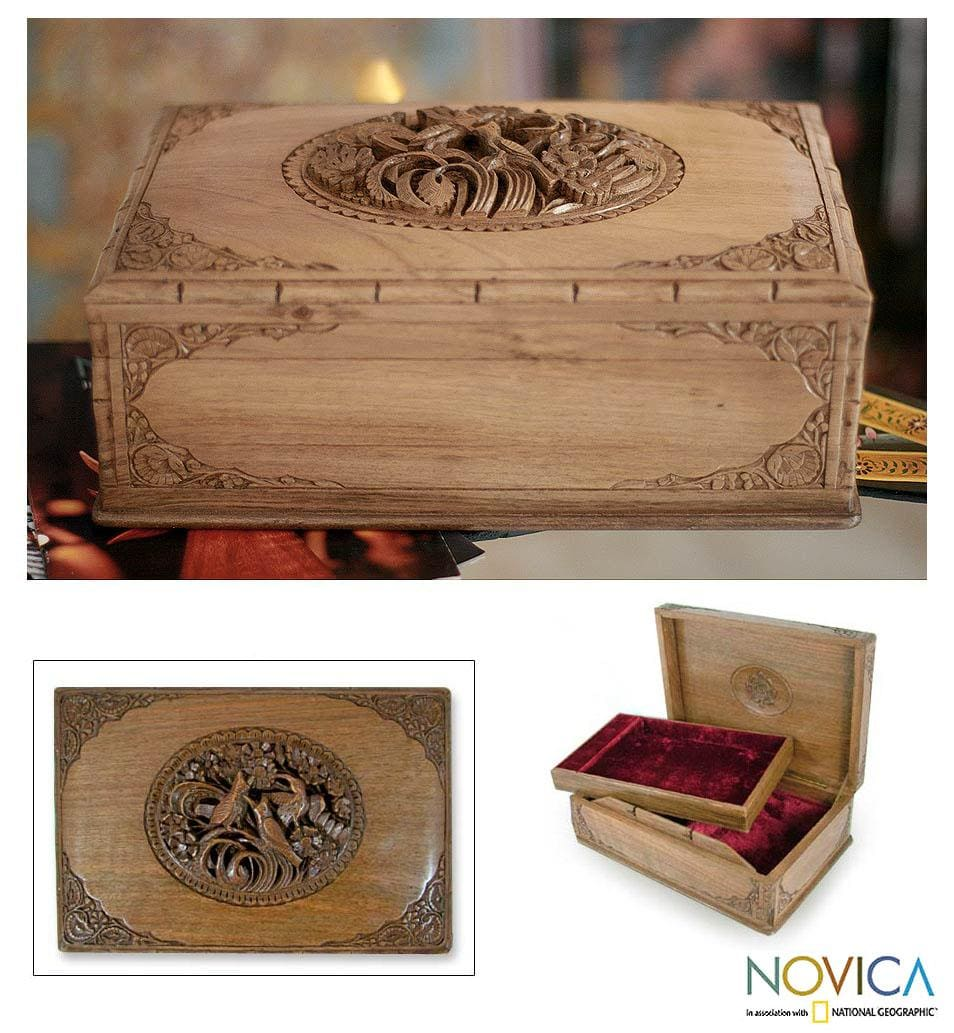 Handcrafted Walnut Wood 'Birds in Spring' Jewelry Box (India)