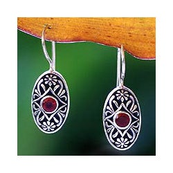 Handmade Sterling Silver 'Desire' Garnet Drop Earrings (Indonesia)