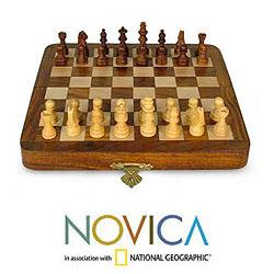 Sheesham Wood and Kadam Wood 'Traveling Strategist' Chess Set '(India)