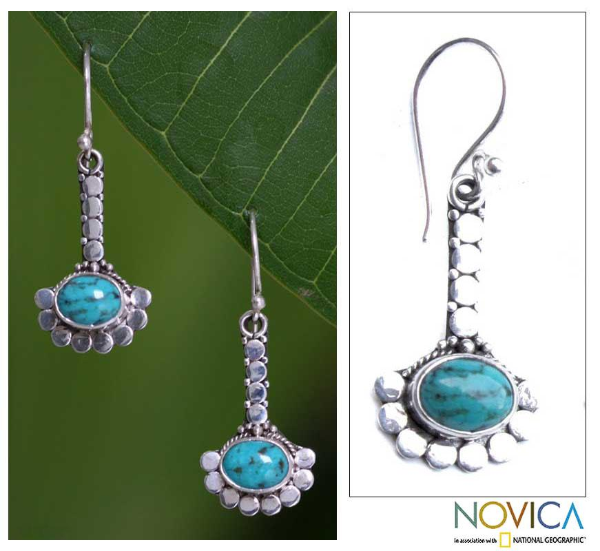 Sterling Silver 'Song of Peace' Turquoise Earrings (Indonesia)