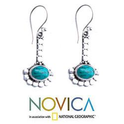 Sterling Silver 'Song of Peace' Turquoise Earrings (Indonesia) - Thumbnail 1