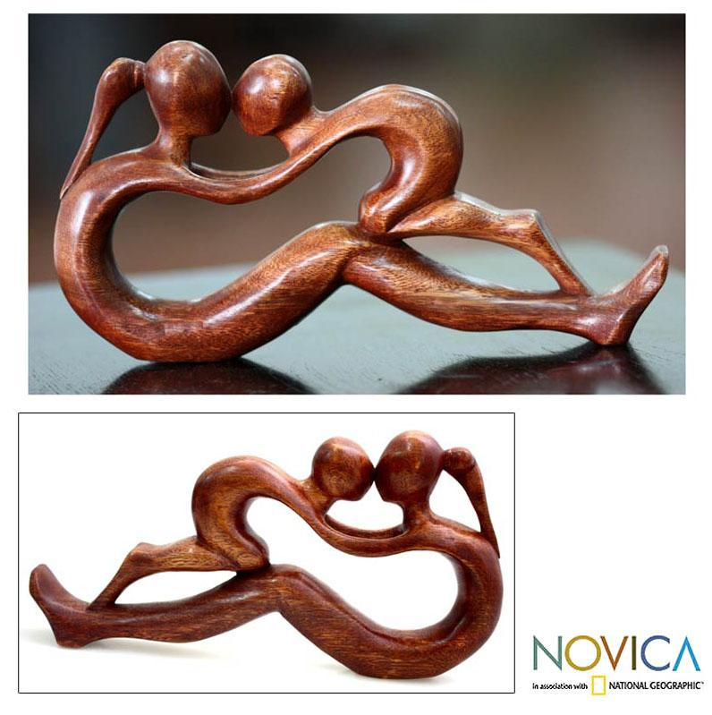 Endless Love Birthday Mothers Day or Any Occasion Gift Hand Carved Brown Wood Mother and Child Art Work Sculpture (Indonesia)
