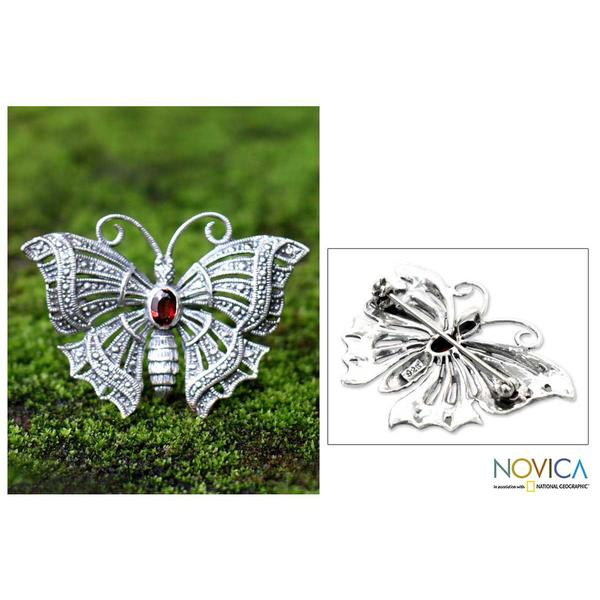Handmade Sterling Silver 'Crimson Butterfly' Garnet Brooch Pendant (Indonesia)