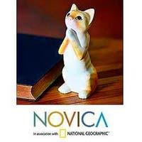 Handmade Albesia Wood 'Ginger Tabby Cat Wish' Sculpture (Indonesia)