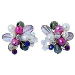Handmade Sterling Silver 'Flor' Multi-gemstone Pearl Earrings (5 mm) (Thailand)