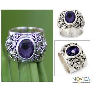 Handmade Sterling Silver 'Lilac Frangipani' Amethyst Ring (Indonesia)