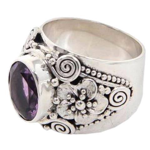 NOVICA Handmade Sterling Silver 'Lilac Frangipani' Amethyst Ring (Indonesia) - Purple