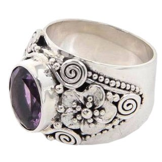 Handmade Sterling Silver 'Lilac Frangipani' Amethyst Ring (Indonesia)