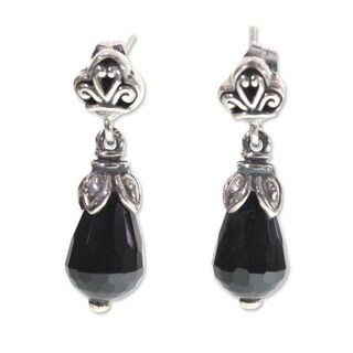 Handmade Sterling Silver 'Floral Celebration' Onyx Earrings (Indonesia)