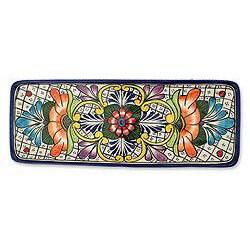 Handcrafted Ceramic 'Guanajuato Flora' Talavera Serving Plate (Mexico)