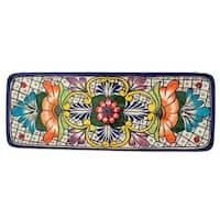 Handmade Ceramic 'Guanajuato Flora' Talavera Serving Plate (Mexico)