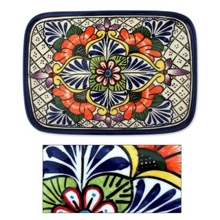 Handmade Ceramic 'Regal Flora' Talavera Serving Plate (Mexico)