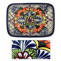 Handmade Ceramic 'Regal Flora' Talavera Serving Plate (Mexico)
