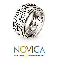 Handmade Sterling Silver 'Karangasem Castle' Band Ring (Indonesia) - Thumbnail 1