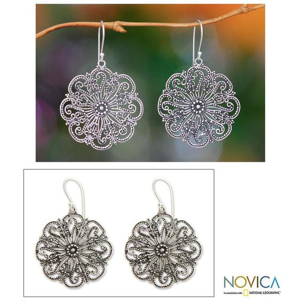 Handmade Sterling Silver 'Gardenia Halo' Flower Earrings (Indonesia)